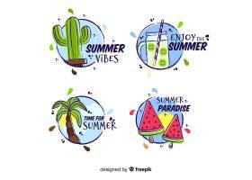 手绘夏季标签系列_4712381