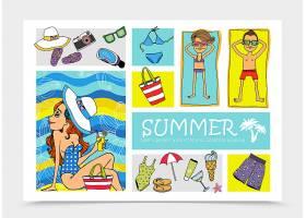 手绘暑假元素套装插图_12858699