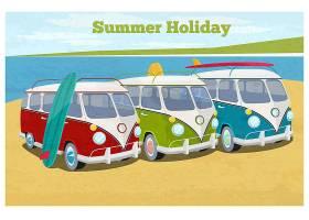 带露营面包车的暑假插图交通和度假复古_10704084