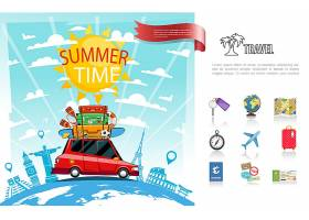 平坦的夏季旅行概念和汽车在地球上行驶的关_13235375