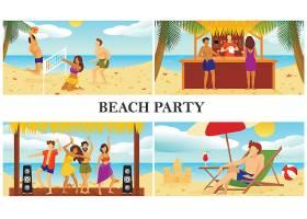 平坦的夏季海滩度假组合人们在躺椅休息室_9647890