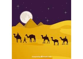 平坦的夜景有埃及金字塔和骆驼大篷车_2730931