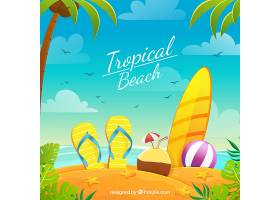 平坦设计的热带天堂海滩_2730568