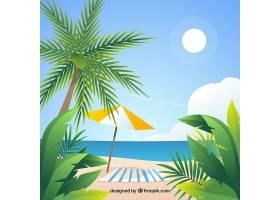 平坦设计的热带天堂海滩_2730571