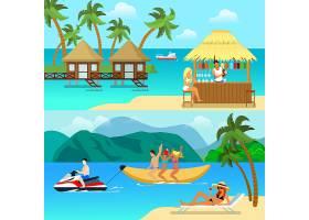 平坦风格的热带度假胜地活动插图海滩酒吧_12395076