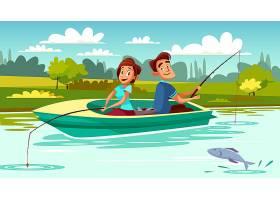 年轻男女在湖上拿着鱼竿的小船上的情侣垂钓_2703446