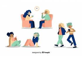 平面设计的女性角色享受集体活动_5359446