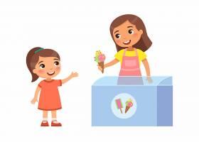 微笑的卖家年轻女子给小女孩冰淇淋快乐的_8693533