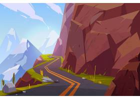 山间柏油路蜿蜒空旷的公路在多岩石的夏日_5467416