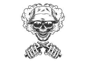 巴拿马帽子中的复古单色头骨_7983940
