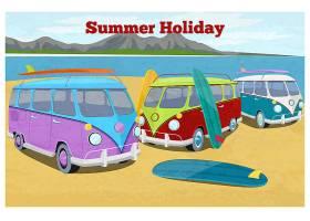 带冲浪露营面包车的夏季旅行设计汽车复古_10704103
