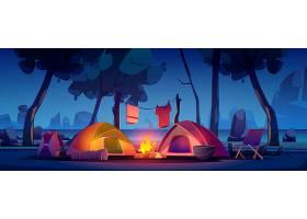 带帐篷篝火和湖的夏令营_7588841