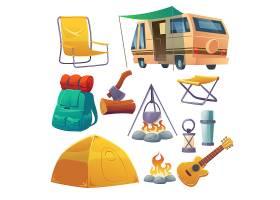 带帐篷篝火背包和面包车的夏令营_12760323