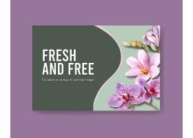 带有夏花概念设计水彩画的社交媒体模板_8907998