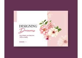 带有夏花概念设计水彩画的社交媒体模板_8908009