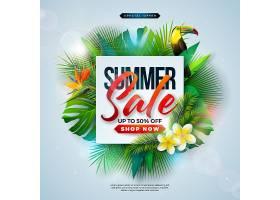 带有异国情调的棕榈叶和鲜花的夏季促销设计_4951457