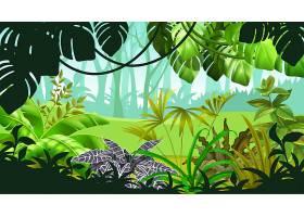 带有热带植物的游戏景观_9444769