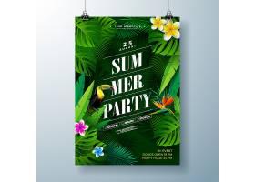 带有花卉和热带棕榈叶的夏日派对传单或海报_4966626