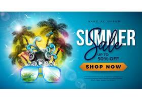 带棕榈树和太阳镜的夏季特卖会_4939455