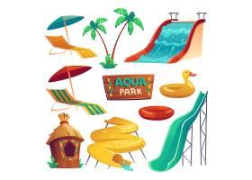 带滑水道充气环雨伞和躺椅的水上公园_12620563