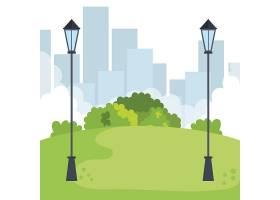带灯具的公园景观景观_5714204