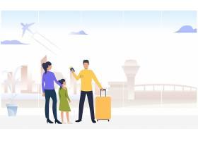 带着女儿站在机场的夫妇_5561857