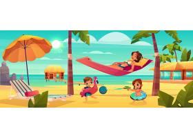 带着快乐的母亲放松的热带度假卡通矢量上的_4394125