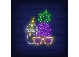 太阳镜菠萝和鸡尾酒霓虹灯招牌_4553930