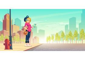 女人在街上听音乐快乐的都市女孩戴着无线_4997282
