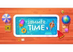 女子游泳池俯瞰夏日放松_8548792