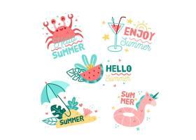 季节性手绘夏季标签套装_8244916
