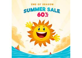 季末夏季大减价的方形横幅上面有阳光和海_10005745