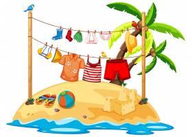 孤立的夏季衣服挂在户外_11829677