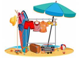 孤立的夏季衣服挂在户外_12337443