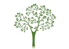 孤立的绿树剪影_10603652