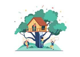 孩子们在操场上和树屋玩耍男孩和女孩们享_11235271