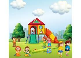 孩子们在操场上玩耍_4564384