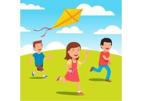 孩子们在草地上一起放风筝_1311257