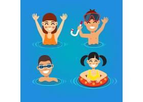 孩子们玩得很开心在海里游泳_1311131