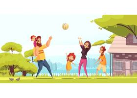 家庭活动假期快乐父母带着孩子在夏季户外打_7250428