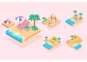 夏日沙滩活动卡通人物平面插图_13331018