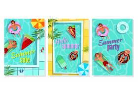 夏日泳池插图商店促销海报派对邀请函和问_2890923