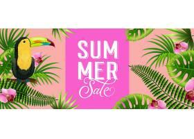 夏季促销粉色旗帜带有棕榈叶热带花朵和_2541784