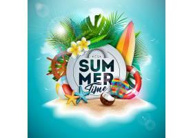 夏季假日插图花卉和热带棕榈叶_4951463