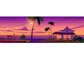 夏季热带景观海滩上有平房日落时露台上_13009400