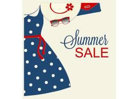 夏日促销设计搭配时髦的蓝色服装_1245639