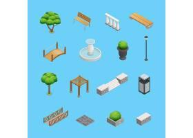 园林和公园设计的景观等距元素植物树木_4187219