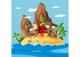 在岛上露营的孩子们_4932664
