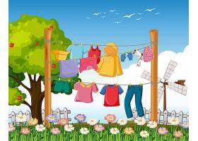 在户外场景中许多衣服挂在绳子上_11691238