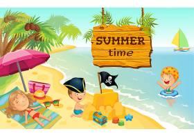在海滩上玩耍的卡通儿童插图_8565397